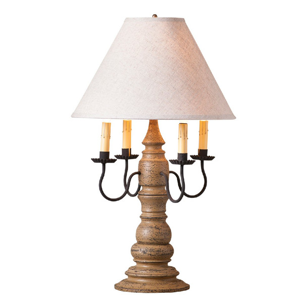 Americana Pearwood Bradford Wood and Metal Table Lamp with Linen Shade