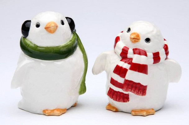 Penguin Couple Porcelain Salt and Pepper Shakers, Set of 4