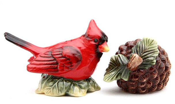 Evergreen Holiday Salt & Pepper Shakers with Cardinal and Pinecone
