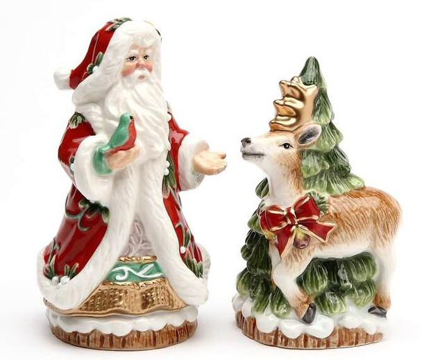 Santa and Reindeer Porcelain Salt and Pepper Shakers, Set of 4