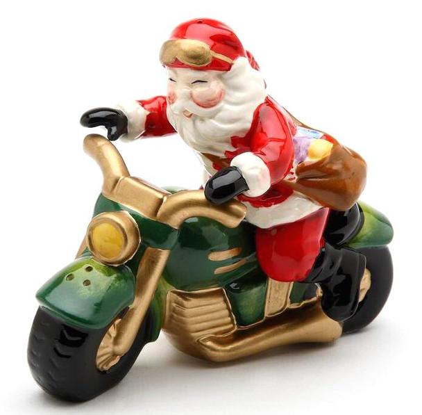 Santa on a Motorcycle Porcelain Salt and Pepper Shakers, Set of 4