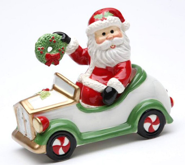 Santa Driving a Car Salt & Pepper Shakers by Laurie Furnell, Set of 4