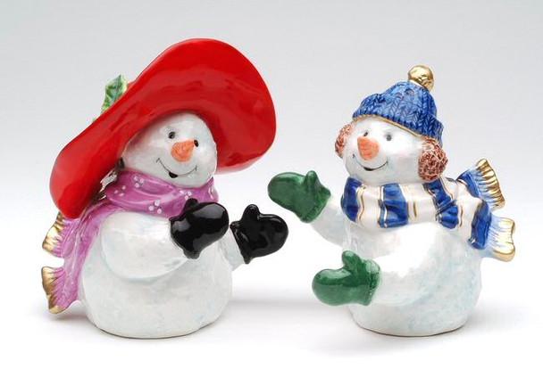 Romantic Snowman Couple Porcelain Salt and Pepper Shakers, Set of 4