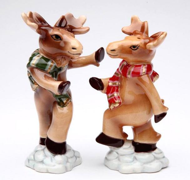 Moose Porcelain Salt and Pepper Shakers, Set of 4
