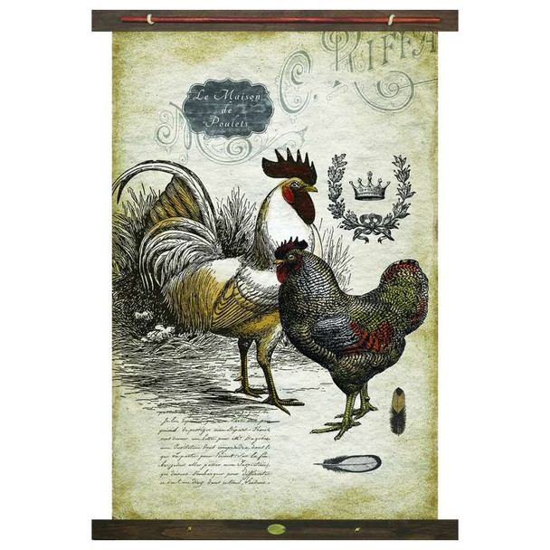 Custom Rooster and Hen Birds Le Maison de Poulets Canvas Tapestry