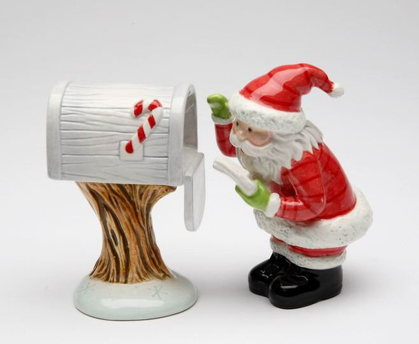 Santa Claus Checking Mail Box Salt and Pepper Shakers, Set of 4