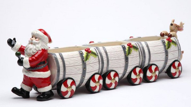 Santa Barrel Train Box with Salt and Pepper Shakers by Laurie Furnell