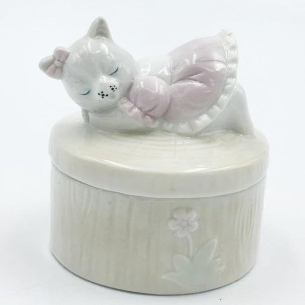 Cat Porcelain Trinket Boxes, Set of 4