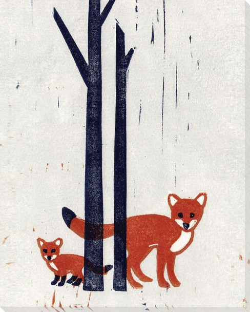 Foxes Wrapped Canvas Giclee Art Print Wall Art