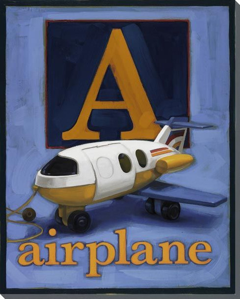 A for Airplane Wrapped Canvas Giclee Print Wall Art
