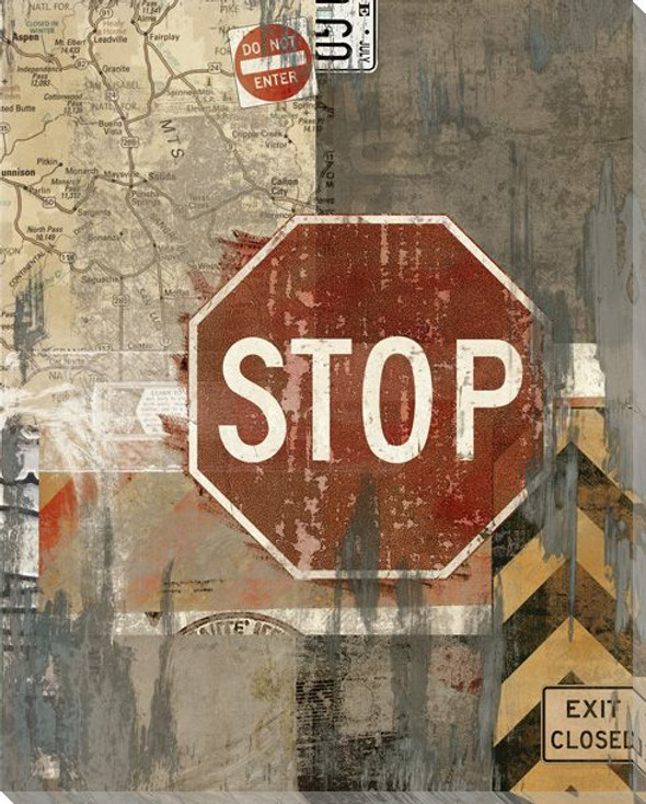 Road Trip Stop Sign Wrapped Canvas Giclee Print Wall Art