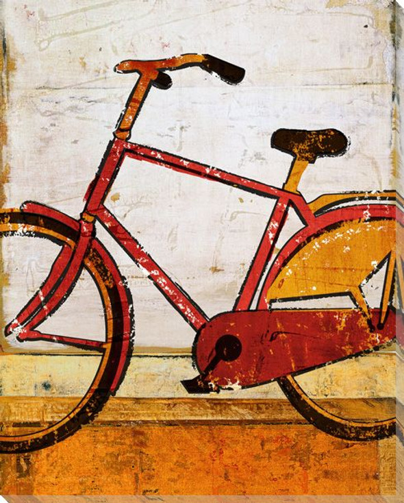 Around Town Bicycle Wrapped Canvas Giclee Print Wall Art