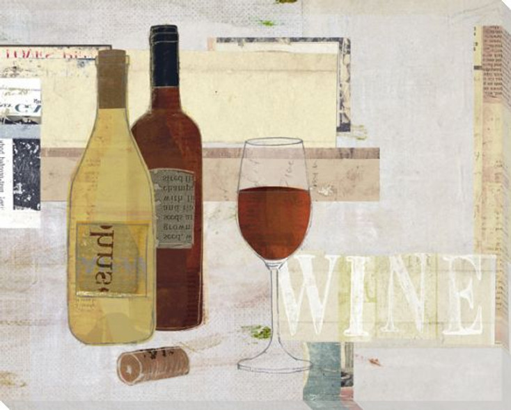 Wine Bottles and Wine Glass Wrapped Canvas Giclee Print Wall Art