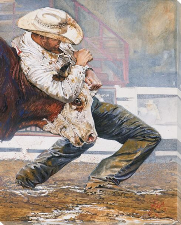 Who's Got Who Cowboy and Bull Wrapped Canvas Giclee Print Wall Art