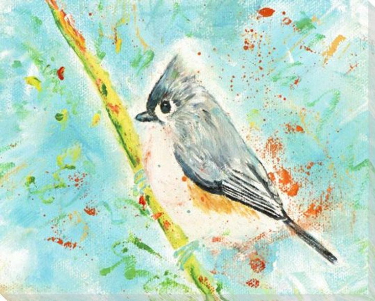 Bird Sitting on a Branch Wrapped Canvas Giclee Art Print Wall Art