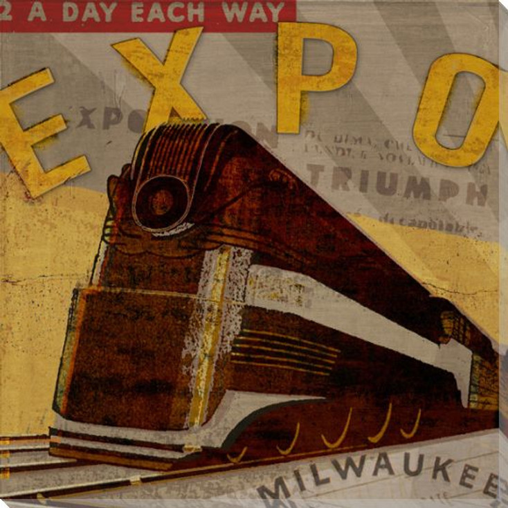 Expo Train Wrapped Canvas Giclee Print Wall Art