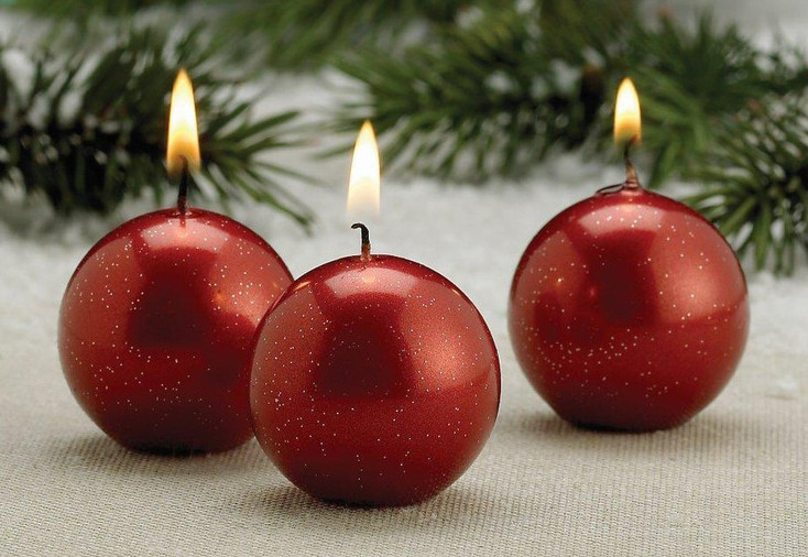 Metallic Red Christmas Ball Candles, Set of 12