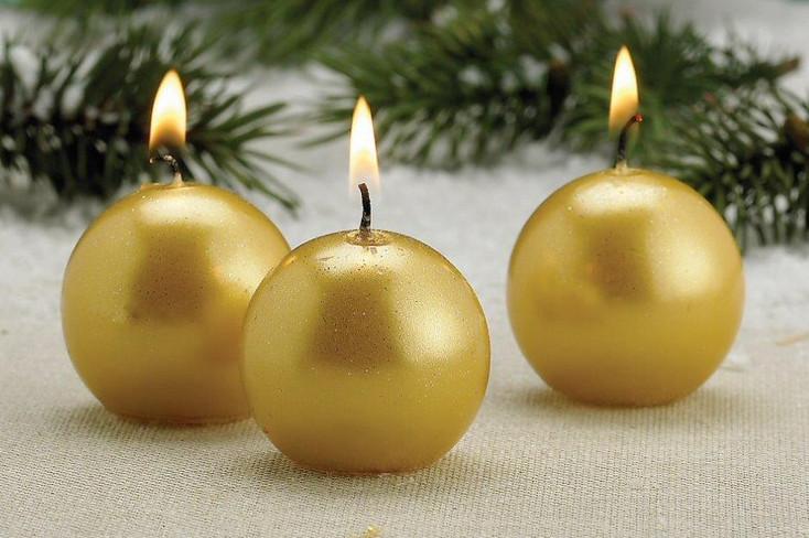Metallic Gold Christmas Ball Candles, Set of 12