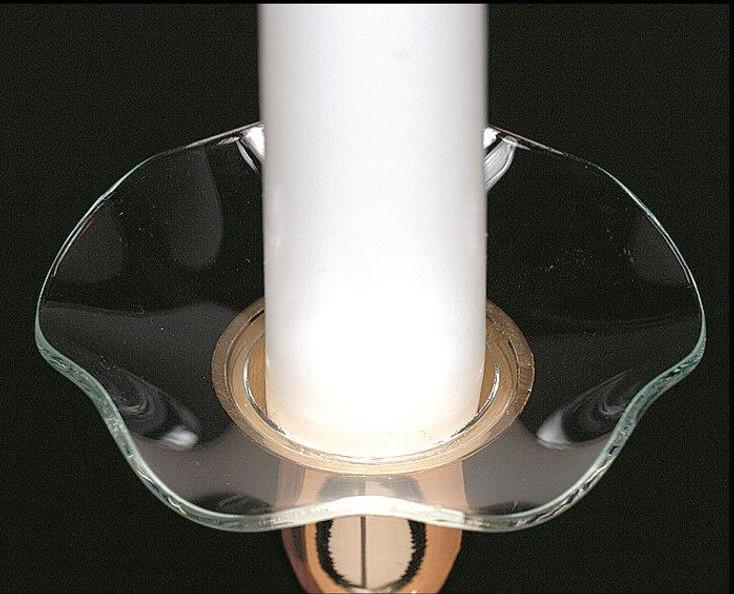 Plain Fluted Bobeche Glass Candle Wax Catchers, Set of 12