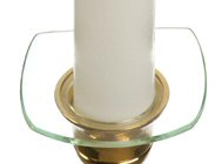 Square Bobeche Glass Candle Wax Catchers, Set of 12