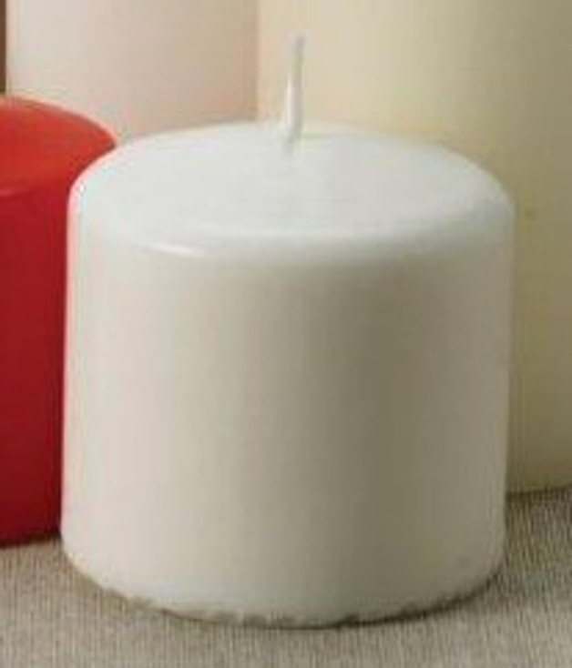 """3"""" White Unscented Pillar Candles, Set of 12"""