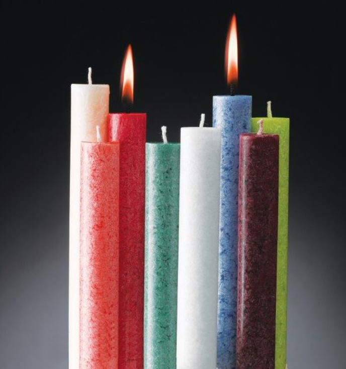 """10"""" Ten Footed Vegetable Wax Carriage Taper Candles, 8 Color Choices"""