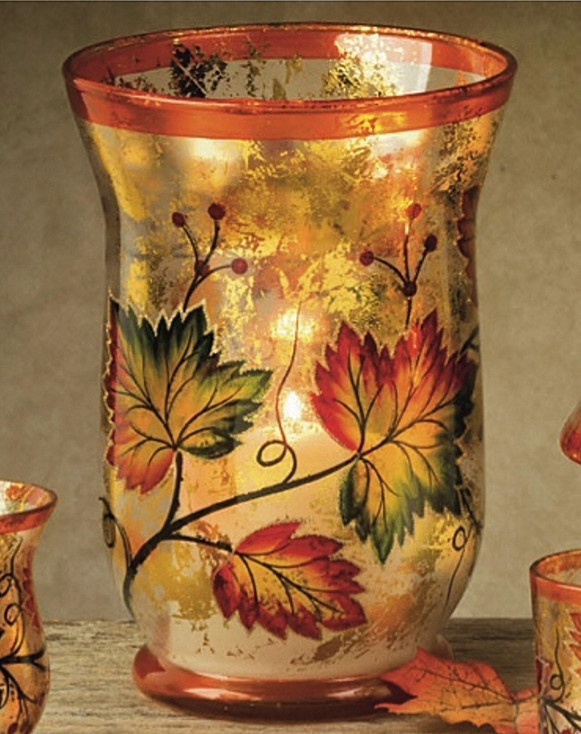 """8"""" Fall Scene Hand Painted Glass Hurricane Candle Holder"""