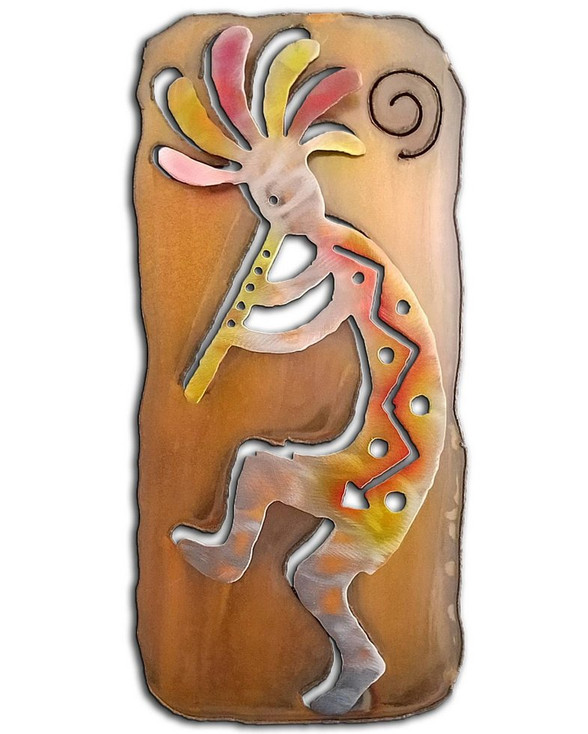 Left Facing Cut Out Kokopelli Flute Player Sunset Swirl Metal Wall Art