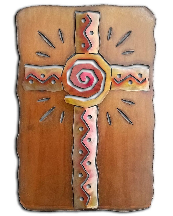 Cut Out Southwest Cross Sunset Swirl Metal Wall Art