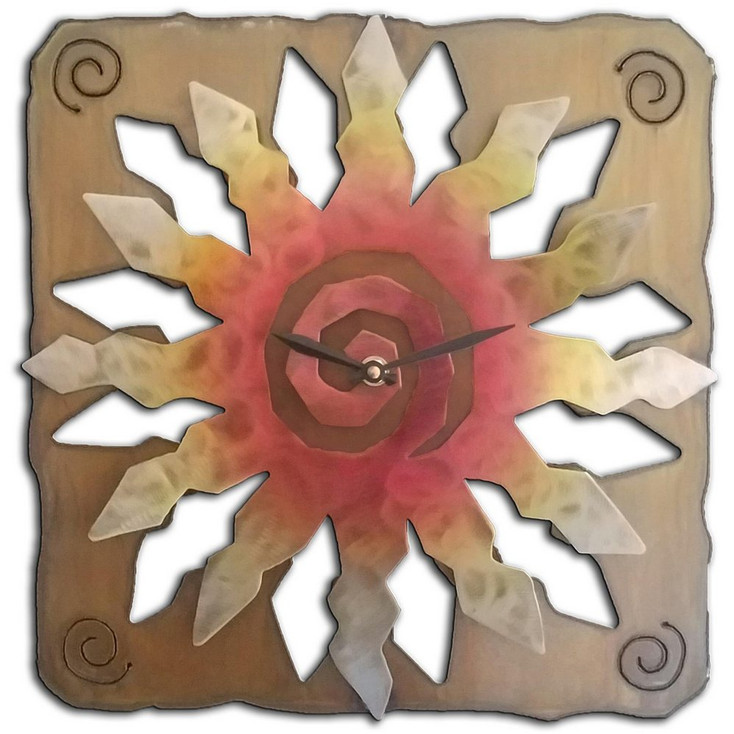 12 Point Cut Out Sunburst Sunset Swirl Metal Wall Clock