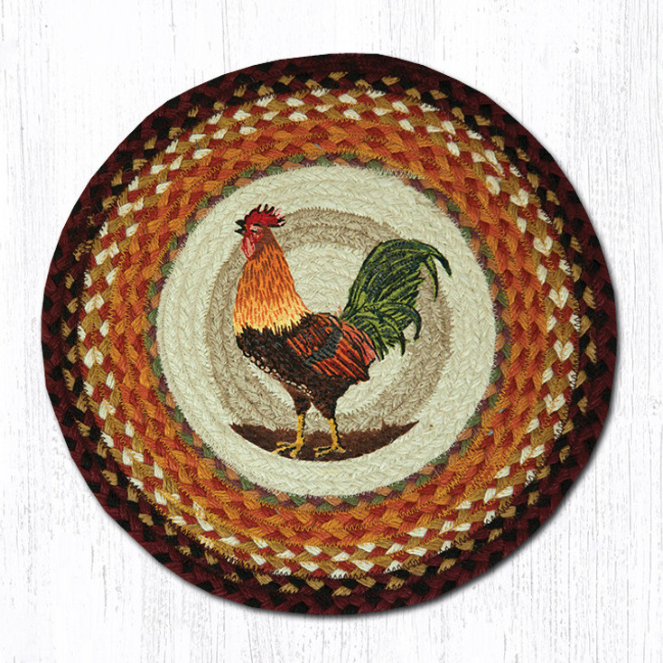 """15.5"""" Morning Rooster Braided Jute Chair Pad, Set of 2"""