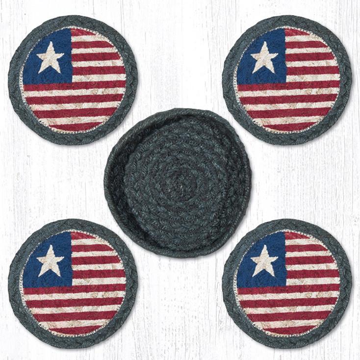 Original Flag Braided Jute Coasters and Basket Holder, Set of 10