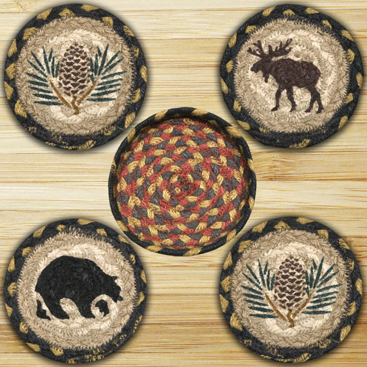 Wilderness Braided Jute Coasters and Basket Holder, Set of 10