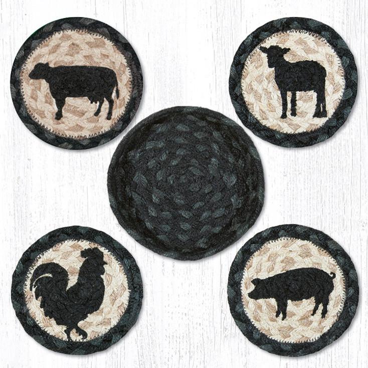 Barnyard Animals Braided Jute Coasters and Basket Holder, Set of 10