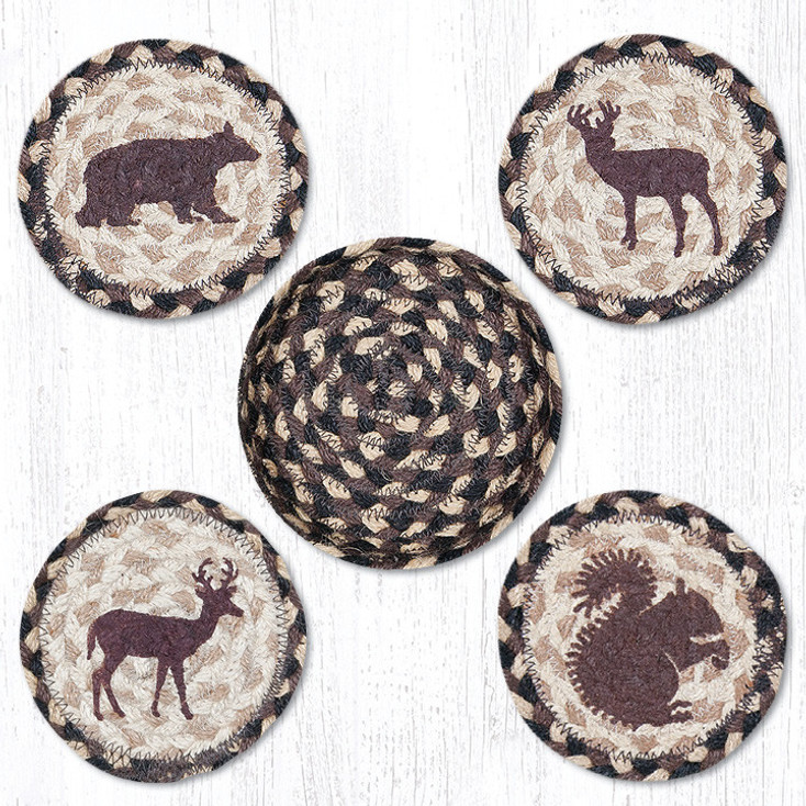 Wildlife Braided Jute Coasters and Basket Holder, Set of 10