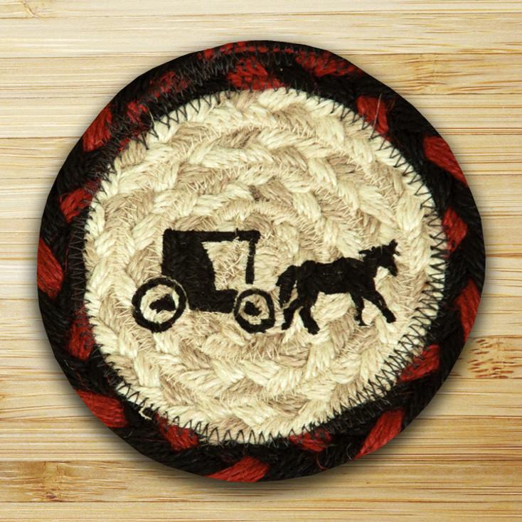 Amish Buggy Braided Jute Coasters, Set of 8