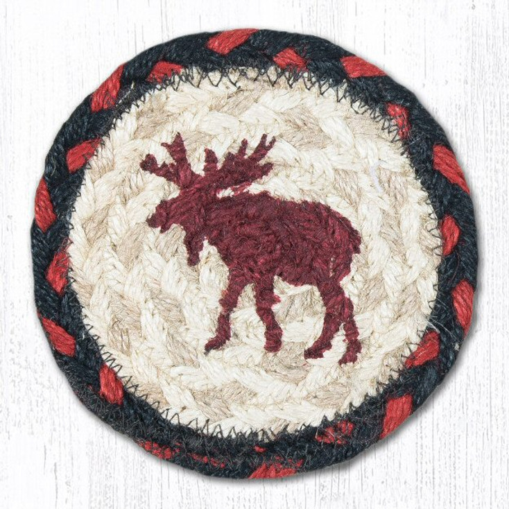Moose Braided Jute Coasters, Set of 8