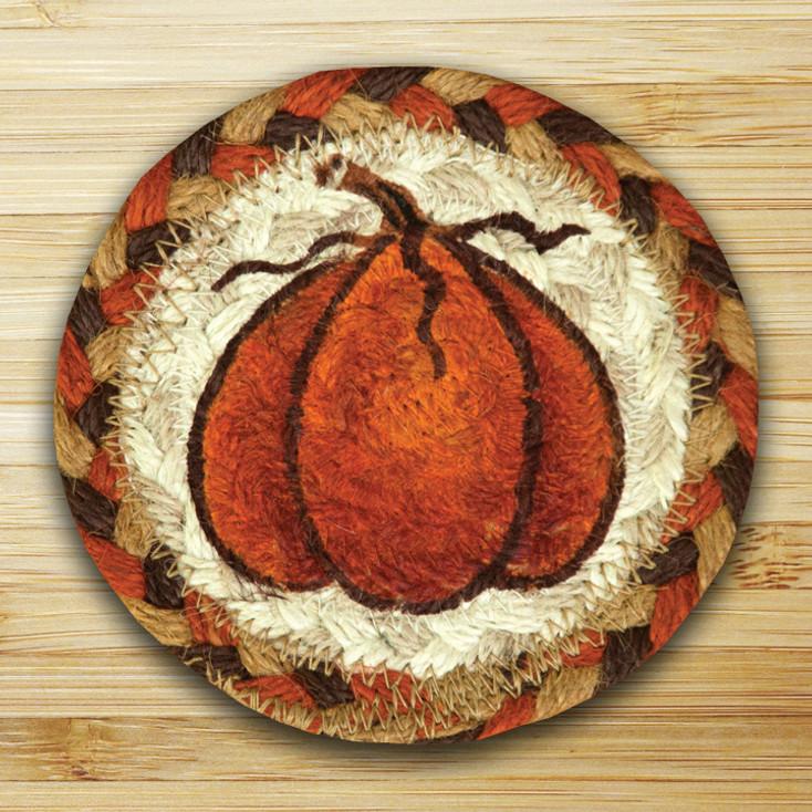 Harvest Pumpkin Braided Jute Coasters, Set of 8