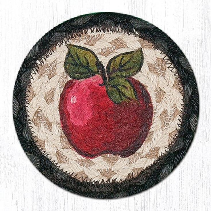Red Apple Braided Jute Coasters, Set of 8