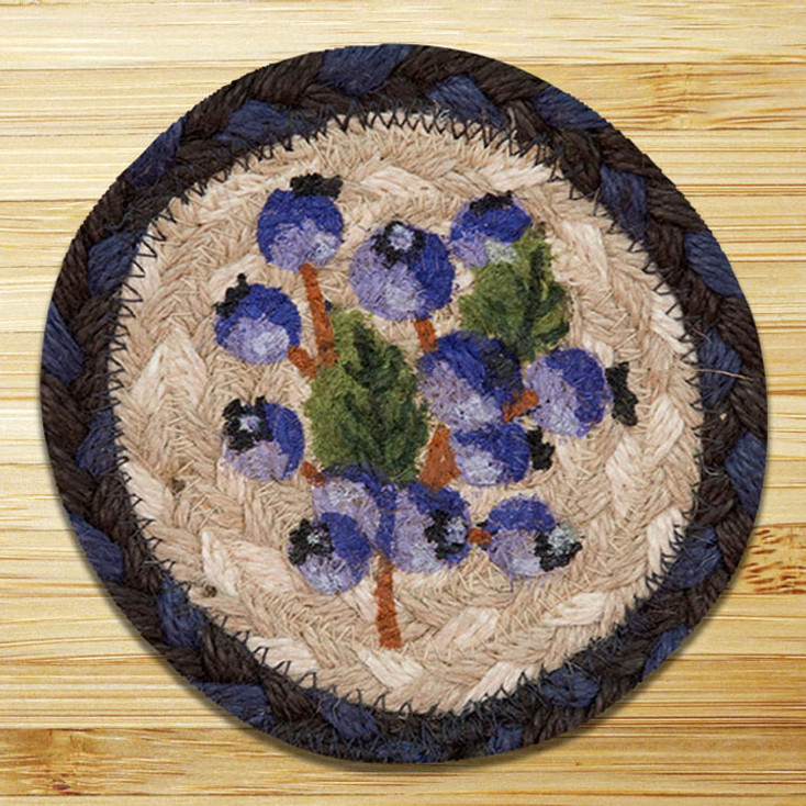 Blueberry Braided Jute Coasters, Set of 8