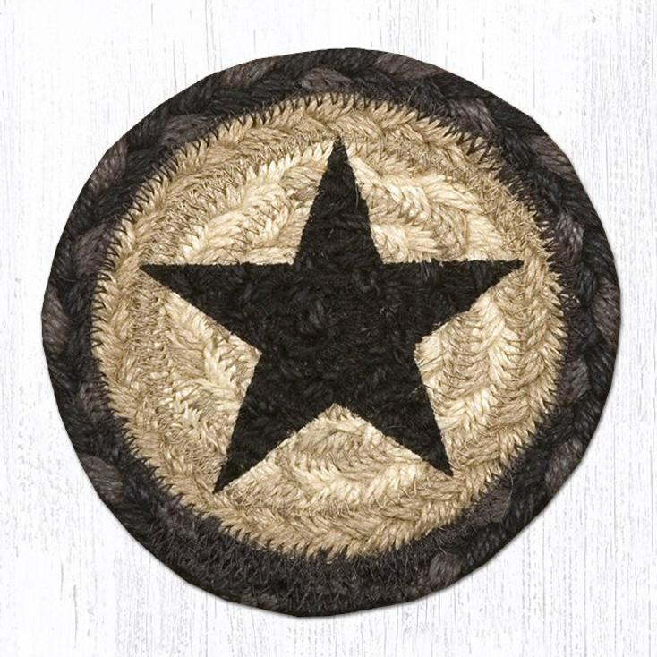 Rustic Black Star Braided Jute Coasters, Set of 8