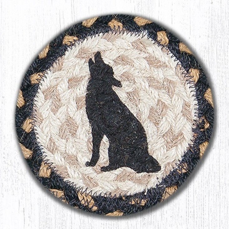 Howling Coyote Braided Jute Coasters, Set of 8