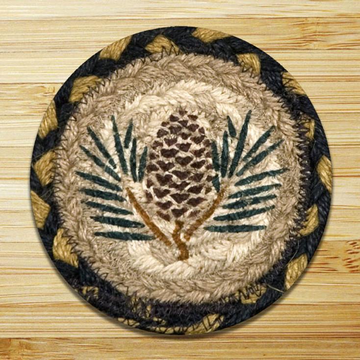 Pinecone Braided Jute Coasters, Set of 8