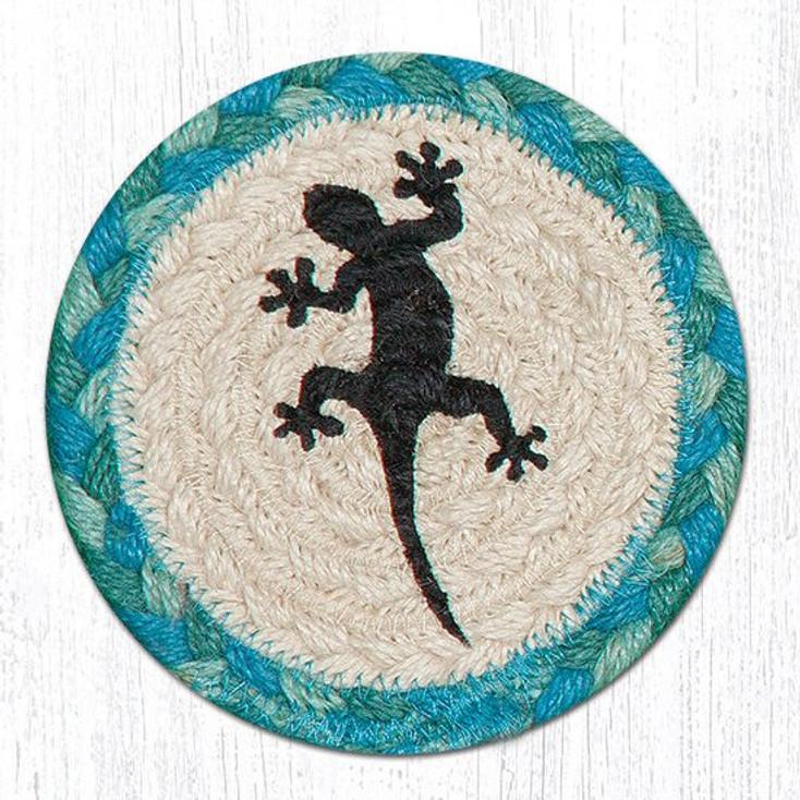 Gecko Lizard Braided Jute Coasters, Set of 8