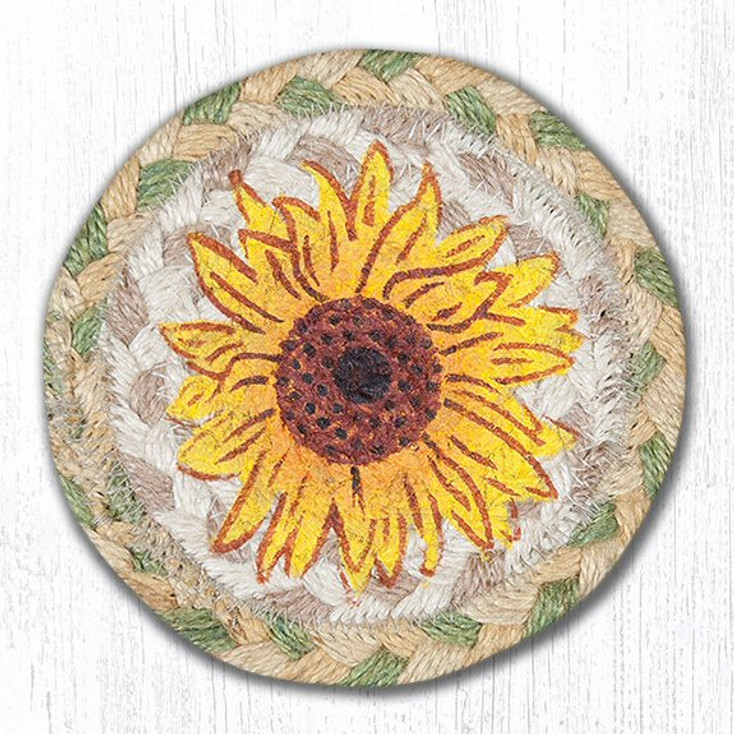 Sunflower Braided Jute Coasters, Set of 8