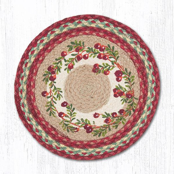 Cranberries Braided Jute Round Placemats by Harry W. Smith, Set of 2