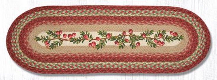 """13"""" x 36"""" Cranberries Braided Jute Oval Table Runner by Harry W. Smith"""