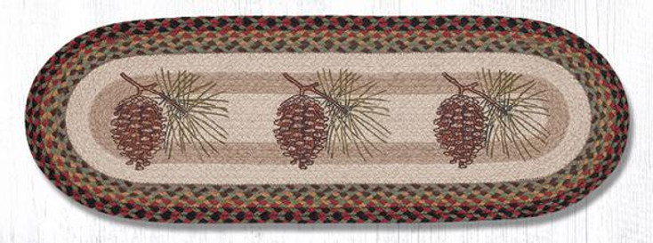 """13"""" x 36"""" Pinecones Braided Jute Oval Table Runner by Sandy Clough"""