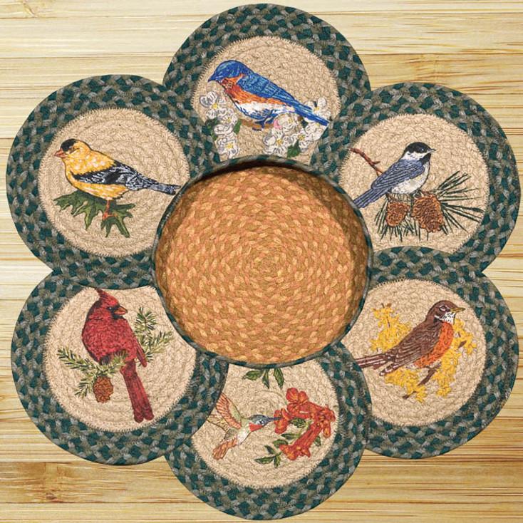 Song Birds Braided Jute Trivets and Basket Holder, Set of 7
