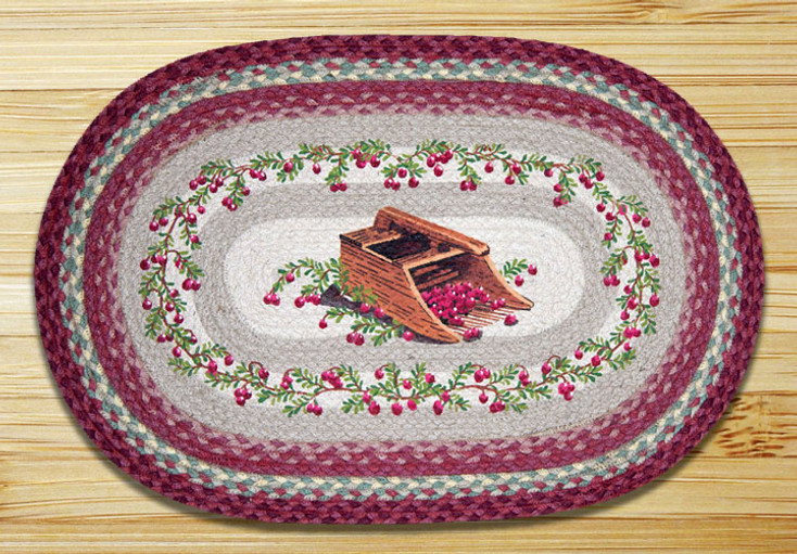 """20"""" x 30"""" Cranberries Braided Jute Oval Rug by Harry W Smith"""